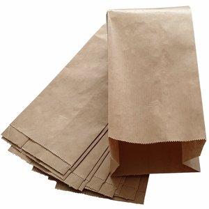 Bruine papieren zakjes met zijvouw 100 stuks 13x8x26cm 1 pond / fruitzakken