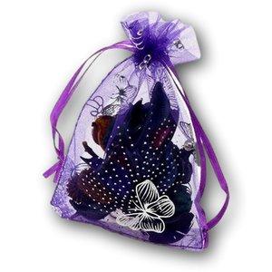 Organza zakjes paars met vlinders - 11x16 cm 100 stuks / cadeauzakjes