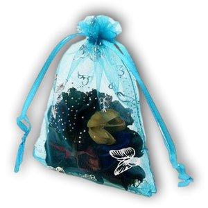 Organza zakjes hemels blauw met vlinders - 11x16 cm 100 stuks / cadeauzakjes