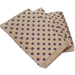 Papieren zakjes / cadeauzakjes 13,5x18 cm bruin met paarse stippen 100 stuks