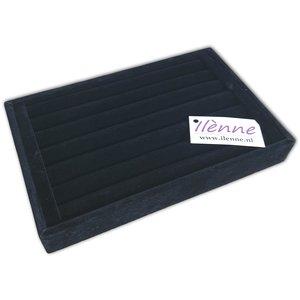 Ringendoos - 23x15x3 cm - zwart - zonder deksel / ringen opbergen display doos
