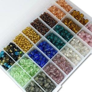 Glaskralen - kleuren mix - in kralendoos 725 gram, 4 tot 9 mm - kralen hobby volwassenen