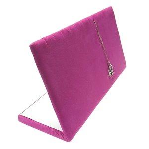 Sieradenhouder voor kettinkjes en armbandjes - inkepingen - fuchsia roze velours