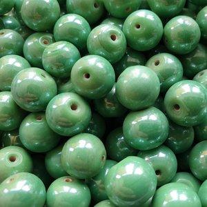Glaskralen rond - Groen - 12 mm - 125 gram - kralen hobby volwassenen