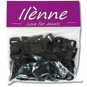 Paracord sluiting - zwart - plastic - 25 stuks - voor armband