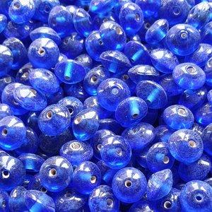 Glaskralen blauw - plat ovaal - 9 x 6 mm - 125 gram - kralen hobby volwassenen