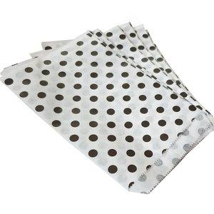 Papieren zakjes - 15x22 cm - wit met zwarte stippen - 100 stuks