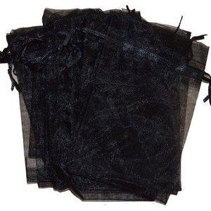 Organza zakjes zwart 10 x 15 cm