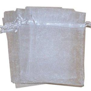 Organza zakjes wit 10 x 15 cm