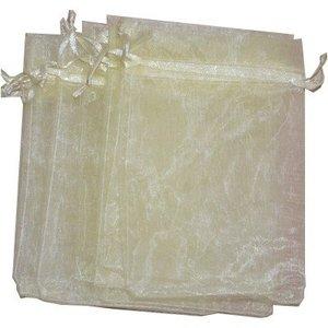 Organza zakjes licht geel 10 x 15 cm