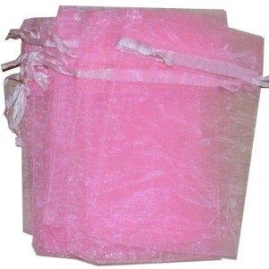 Organza zakjes licht roze 10 x 15 cm